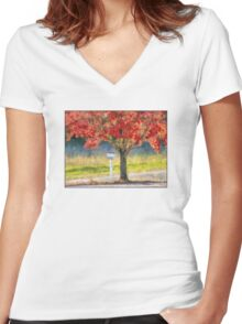 Blazing Bloody Red Dogwood By White Mailbox Women's Fitted V-Neck T-Shirt