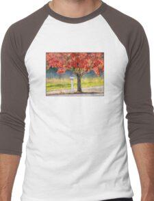 Blazing Bloody Red Dogwood By White Mailbox Men's Baseball ¾ T-Shirt