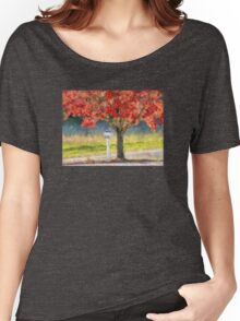Blazing Bloody Red Dogwood By White Mailbox Women's Relaxed Fit T-Shirt