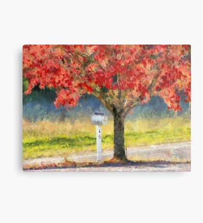 Blazing Bloody Red Dogwood By White Mailbox Metal Print