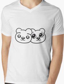 couple couple 2 faces head female girl woman sweet cute comic cartoon teddy bear Mens V-Neck T-Shirt