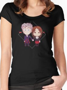 12 and Clara - Chibi Hearts Women's Fitted Scoop T-Shirt