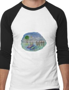 Canoes and the Sunset - Watercolor Painting Men's Baseball ¾ T-Shirt