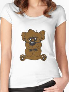 nerd geek smart hornbrille clever fly cool young comic cartoon teddy bear Women's Fitted Scoop T-Shirt