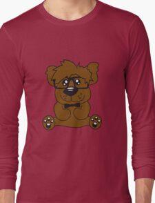 nerd geek smart hornbrille clever fly cool young comic cartoon teddy bear Long Sleeve T-Shirt