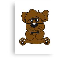 nerd geek smart hornbrille clever fly cool young comic cartoon teddy bear Canvas Print