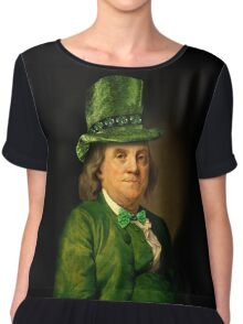 St Patrick's Day for Lucky Ben Franklin   Chiffon Top