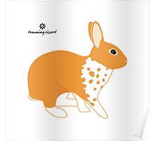 Blanket Brocken Rabbit, Orange Poster