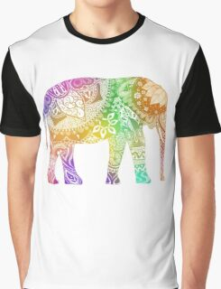 Rainbow Tribal Elephant Graphic T-Shirt
