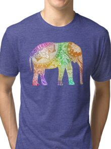 Rainbow Tribal Elephant Tri-blend T-Shirt