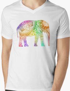 Rainbow Tribal Elephant Mens V-Neck T-Shirt