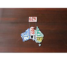 Aussie Number Plate Map #1 Photographic Print