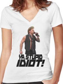 You Stupid Idiot-Jericho Women's Fitted V-Neck T-Shirt