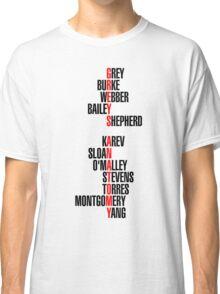 Grey's Anatomy Early Cast Names (black) Classic T-Shirt