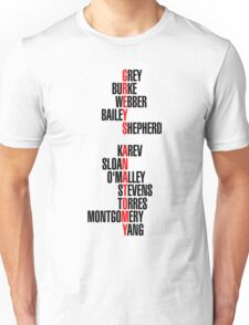 Grey's Anatomy Early Cast Names (black) Unisex T-Shirt