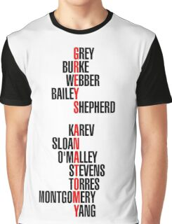 Grey's Anatomy Early Cast Names (black) Graphic T-Shirt