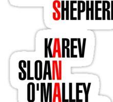 Grey's Anatomy Early Cast Names (black) Sticker