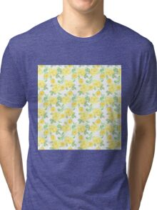 Yellow Watercolor Roses Pattern Tri-blend T-Shirt
