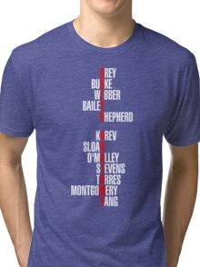 Grey's Anatomy Early Cast Names (white) Tri-blend T-Shirt