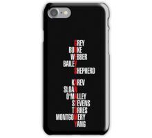 Grey's Anatomy Early Cast Names (white) iPhone Case/Skin