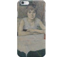 Henri de Toulouse-Lautrec  - Young woman at a table,Woman Portrait iPhone Case/Skin