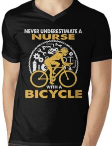 BICYCLE OLD WOMAN Mens V-Neck T-Shirt