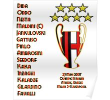 AC Milan 2007 Champions League Final Winners Poster