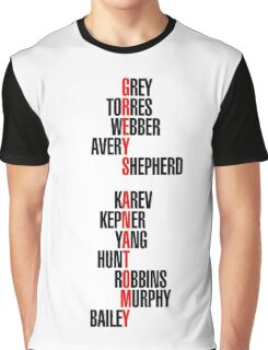 Grey's Anatomy Recent Cast Names (black) Graphic T-Shirt
