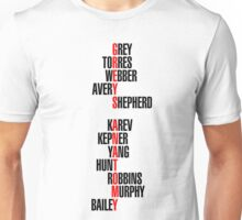 Grey's Anatomy Recent Cast Names (black) Unisex T-Shirt