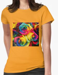 Rose Rainbow Womens Fitted T-Shirt