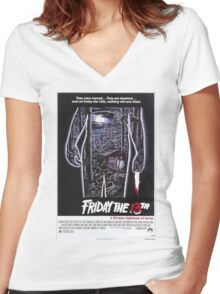 Friday the 13th - Original Poster 1980 Women's Fitted V-Neck T-Shirt