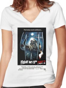Friday the 13th Part 2 - Original Poster 1981 Women's Fitted V-Neck T-Shirt