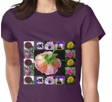 Bejewelled Orange Wildfire Rose Collage Womens Fitted T-Shirt