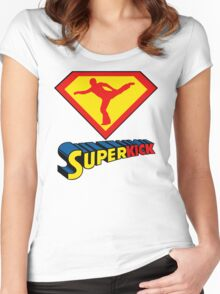 Superkick! (White) Women's Fitted Scoop T-Shirt