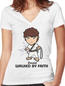Walked by Faith (David) Women's Fitted V-Neck T-Shirt