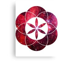 Red Star Clouds V2 | Sacred Geometry Flower of Life Sticker Canvas Print