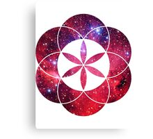 Red Star Clouds | Sacred Geometry Flower of Life Sticker Canvas Print