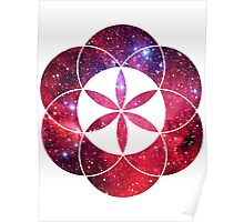 Red Star Clouds | Sacred Geometry Flower of Life Sticker Poster
