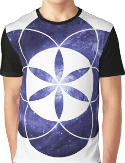 Pinwheel Blue Hue | Sacred Geometry Flower of Life Sticker Graphic T-Shirt