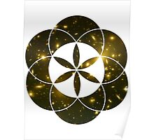 Yellow Galaxies | Sacred Geometry Flower of Life Poster