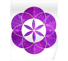 Ki Blast From Ancient Mew Metatron Overlay | Sacred Geometry Flower of Life Poster