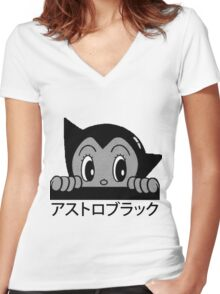 Astro! Black. Women's Fitted V-Neck T-Shirt