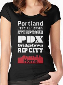 Portland Is My Home. Women's Fitted Scoop T-Shirt