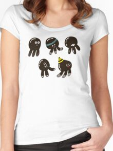 Black cute octopuses Women's Fitted Scoop T-Shirt