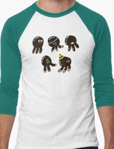Black cute octopuses Men's Baseball ¾ T-Shirt