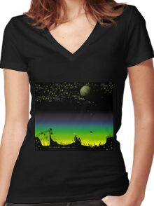 Sunset on a marvelous alien planet (the wide version) Women's Fitted V-Neck T-Shirt
