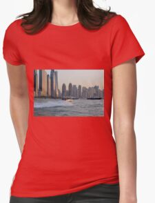 15 March 2016. Photography of skyscrapers skyline from Dubai seen from the water with boats, United Arab Emirates. Womens T-Shirt