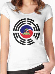 Korean Haitian Multinational Patriot Flag Series Women's Fitted Scoop T-Shirt