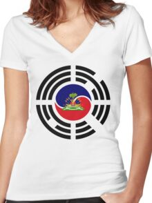 Korean Haitian Multinational Patriot Flag Series Women's Fitted V-Neck T-Shirt