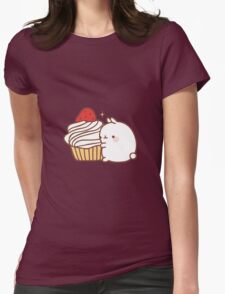 Molang with cupcake Womens Fitted T-Shirt